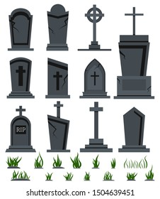 Grey RIP grave tombstone set with green grass for halloween design isolated on white background. Different old tomb gravestone with crack cemetery collection. Vector flat cartoon style illustration.