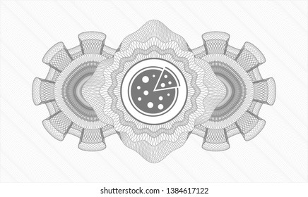 Grey rosette. Linear Illustration. with pizza icon inside