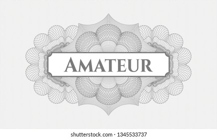 Grey rosette. Linear Illustration. with text Amateur inside