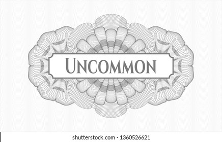 Grey rosette. Linear Illustration. with text Uncommon inside