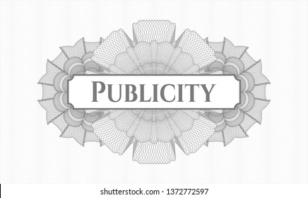 Grey rosette. Linear Illustration. with text Publicity inside