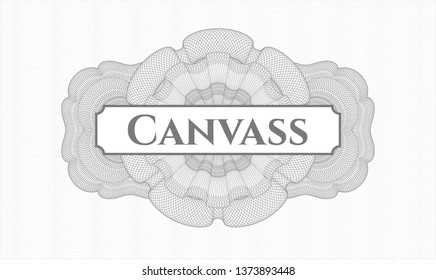 Grey rosette. Linear Illustration. with text Canvass inside