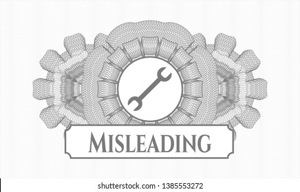 Grey rosette. Linear Illustration. with wrench icon and Misleading text inside