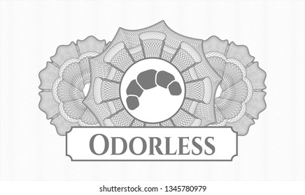 Grey rosette (money style emblem) with croissant icon and Odorless text inside