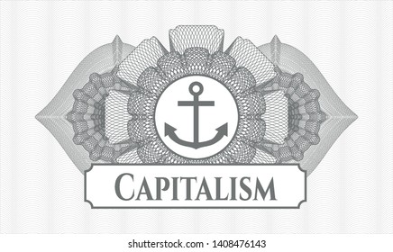 Grey rosette or money style emblem with anchor icon and Capitalism text inside