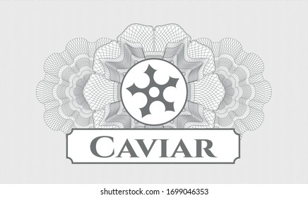 Grey rosette (money style emblem) with ninja star icon and Caviar text inside
