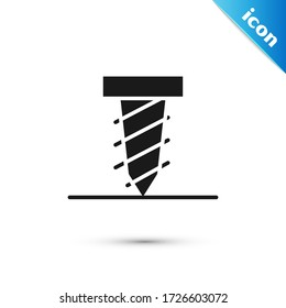 Grey Rotating drill digging a hole in a ground icon isolated on white background.  Vector Illustration