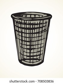 Grey rough wire iron trashbin for refuse on light backdrop. Freehand linear dark ink hand drawn picture logo sketchy in art retro scribble cartoon graphic style. Closeup view with space for text