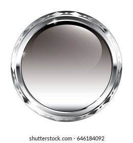 Grey round background with a silver frame, with space for your text. Vector illustration.