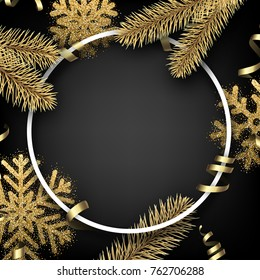 Grey round Christmas background with golden fir branches and snowflakes. Vector illustration.