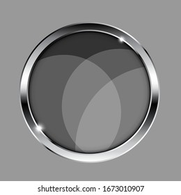Grey round flat background with a silver frame and overlapping circle design. Vector illustration