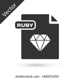 Grey RUBY file document. Download ruby button icon isolated on white background. RUBY file symbol.  Vector Illustration
