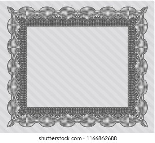Grey Sample Certificate. With guilloche pattern. Detailed. Excellent design.