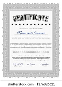 Grey Sample Diploma. Cordial design. Detailed. With background.