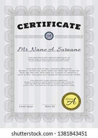 Grey Sample Diploma. With linear background. Artistry design. Detailed.