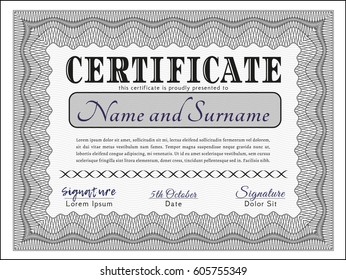 Grey Sample Diploma. With quality background. Customizable, Easy to edit and change colors. Money design.
