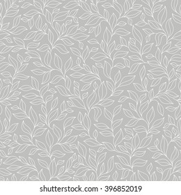 Grey seamless autumn pattern. background with leaves