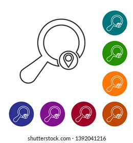 Grey Search location line icon isolated on white background. Magnifying glass with pointer sign. Set icon in color circle buttons. Vector Illustration