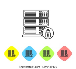 Grey Server security with closed padlock line icon on white background. Security, safety, protection concept. Set icon in color rhombus buttons. Vector Illustration