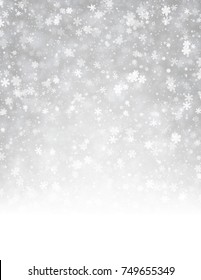Grey shining winter background with snowflakes pattern. Vector illustration.