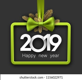 Grey shiny 2019 happy New Year background with green 3d frame and satin ribbon with beautiful bow. Christmas greeting card. Vector illustration.