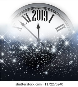 Grey shiny 2019 New Year background with silver clock. Beautiful Christmas greeting card. Vector illustration.