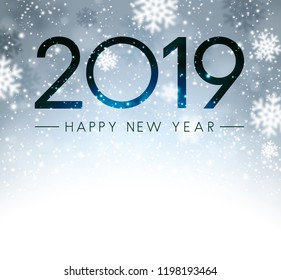 Grey shiny Happy New Year 2019 card with snow. Vector background.