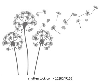 Grey silhouette of a dandelion and hearts on a white background