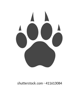 Grey silhouette paw print. Isolated on white background. Vector illustration.