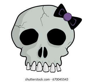 Grey skull with purple bow in emo style