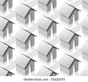 Grey small isometric houses seamless pattern. White background.