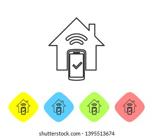 Grey Smart home - remote control system line icon isolated on white background. Set icon in color rhombus buttons. Vector Illustration