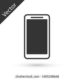 Grey Smartphone, mobile phone icon isolated on white background. Vector Illustration