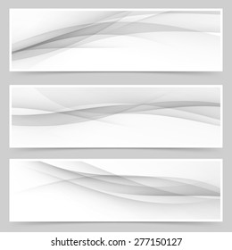 Grey soft line web header collection abstract soft wave layout set. Vector illustration