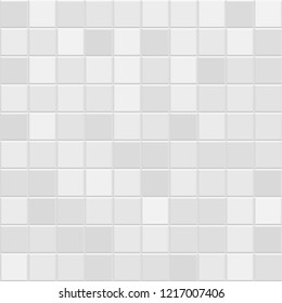 Grey Square Mosaic Tiles Background. Background with Abstract Polygonal Pixels. Random Tiles. Texture for  Tiling the Pool Walls, Bathroom, Kitchen, Tiled Flooring. Square Format.
