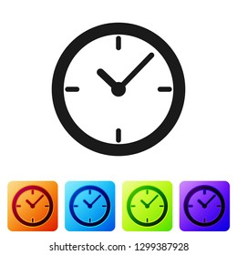 Grey Stopwatch icon isolated on white background. Time timer sign. Set icon in color square buttons. Vector Illustration