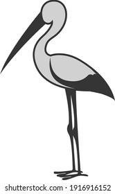 Grey stork, illustration, vector on white background.