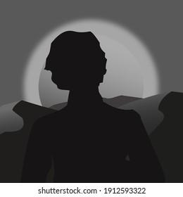 grey sunrise, shadow of man