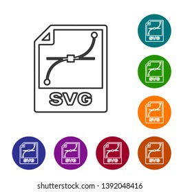 Grey SVG file document icon. Download svg button line icon isolated on white background. SVG file symbol. Set icon in color circle buttons. Vector Illustration
