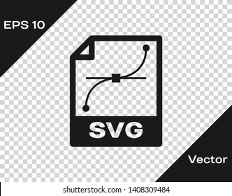 Grey SVG file document icon. Download svg button icon isolated on transparent background. SVG file symbol. Vector Illustration