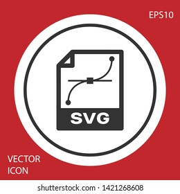 Grey SVG file document icon. Download svg button icon isolated on red background. SVG file symbol. White circle button. Vector Illustration