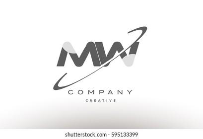 grey swoosh white alphabet company logo line design vector icon template mw m w