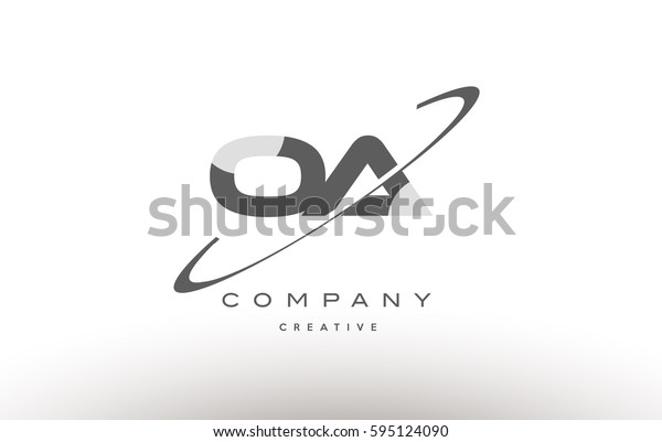 grey swoosh white alphabet company logo line design vector icon template