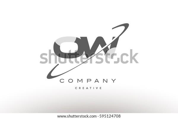 grey swoosh white alphabet company logo line design vector icon template