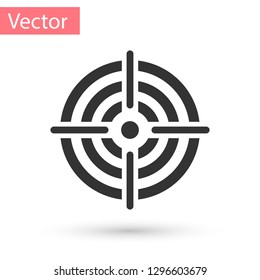 Grey Target sport for shooting competition icon isolated on white background. Clean target with numbers for shooting range or pistol shooting. Vector Illustration