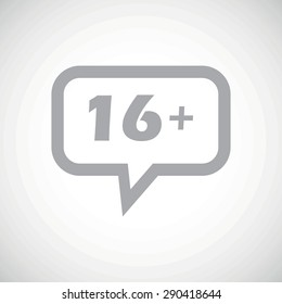 Grey text 16 plus in chat bubble, on white gradient background