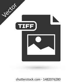Grey TIFF file document. Download tiff button icon isolated on white background. TIFF file symbol.  Vector Illustration