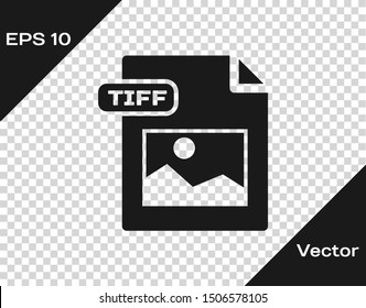 Grey TIFF file document. Download tiff button icon isolated on transparent background. TIFF file symbol.  Vector Illustration