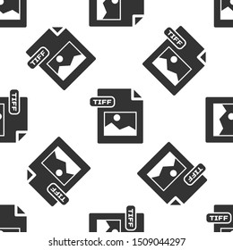 Grey TIFF file document. Download tiff button icon isolated seamless pattern on white background. TIFF file symbol.  Vector Illustration
