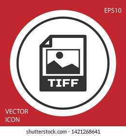 Grey TIFF file document icon. Download tiff button icon isolated on red background. TIFF file symbol. White circle button. Vector Illustration